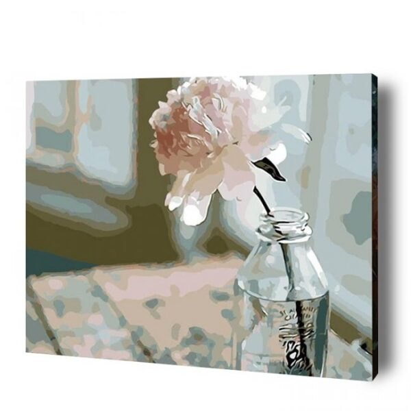 Rose in a Glass Bottle Paint by Numbers