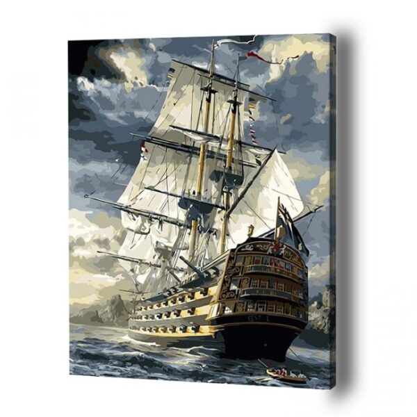Ship at Stormy Sea Paint by Number